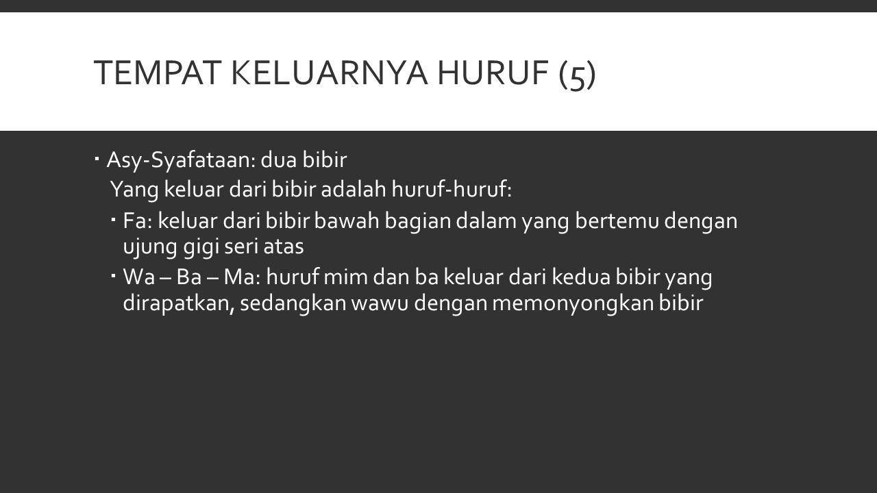 TEMPAT KELUARNYA HURUF (5)  Asy-Syafataan: dua bibir Yang keluar dari bibir adalah huruf-huruf:  Fa: keluar dari bibir bawah bagian dalam yang berte
