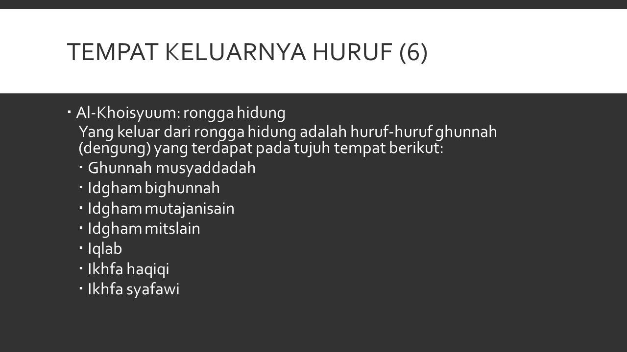 TEMPAT KELUARNYA HURUF (6)  Al-Khoisyuum: rongga hidung Yang keluar dari rongga hidung adalah huruf-huruf ghunnah (dengung) yang terdapat pada tujuh