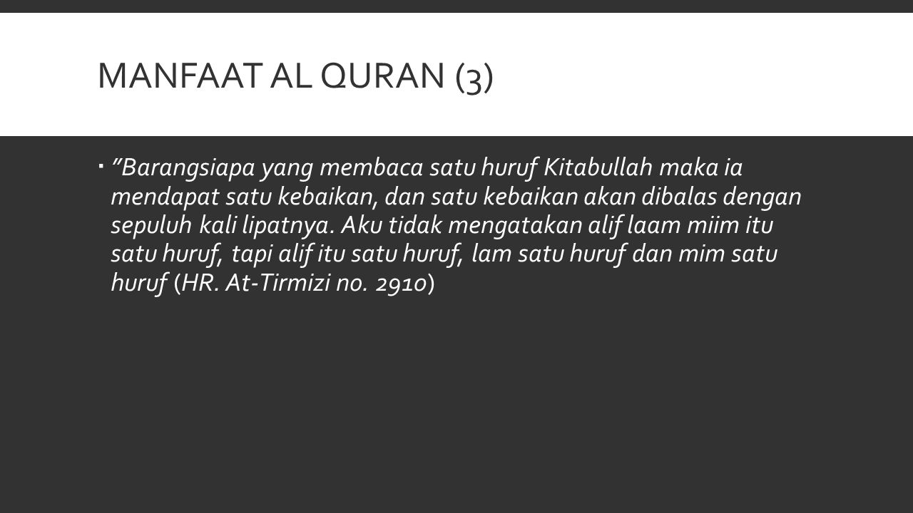 PENGANTAR ILMU TAJWID (1)  Dan bacalah Al Qur'an itu dengan tartil (QS Al Muzzammil 73:4)  Lafadz tajwid menurut bahasa artinya membaguskan  Lafadz tajwid menurut istilah: Mengeluarkan setiap huruf dari tempat keluarnya dengan memberi hak dan mustahaknya  Hak huruf adalah sifat asli yang selalu bersama dengan huruf tersebut  Mustahak huruf adalah sifat yang nampak sewaktu-waktu, seperti tafkhim, tarqiq, ikhfa