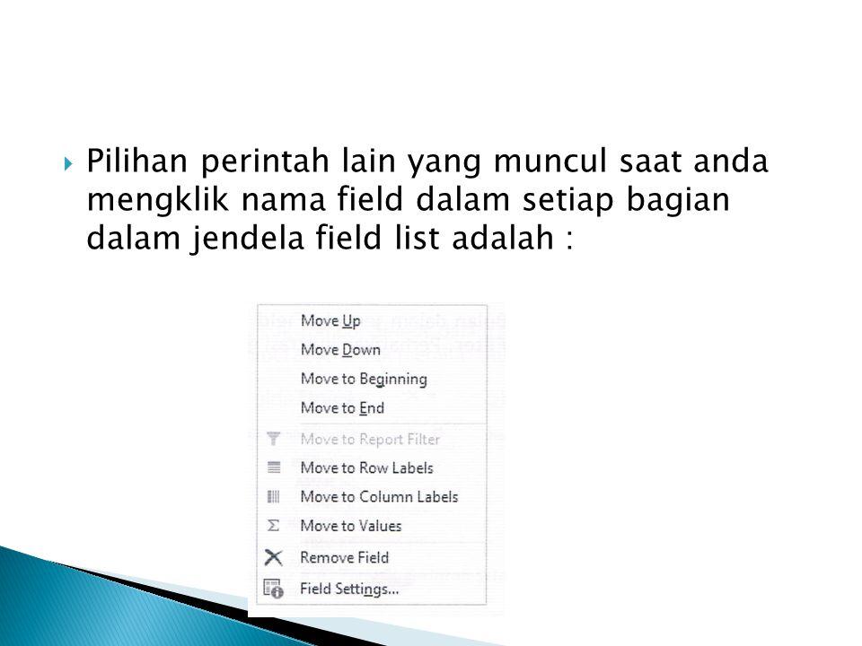  Pilihan perintah lain yang muncul saat anda mengklik nama field dalam setiap bagian dalam jendela field list adalah :