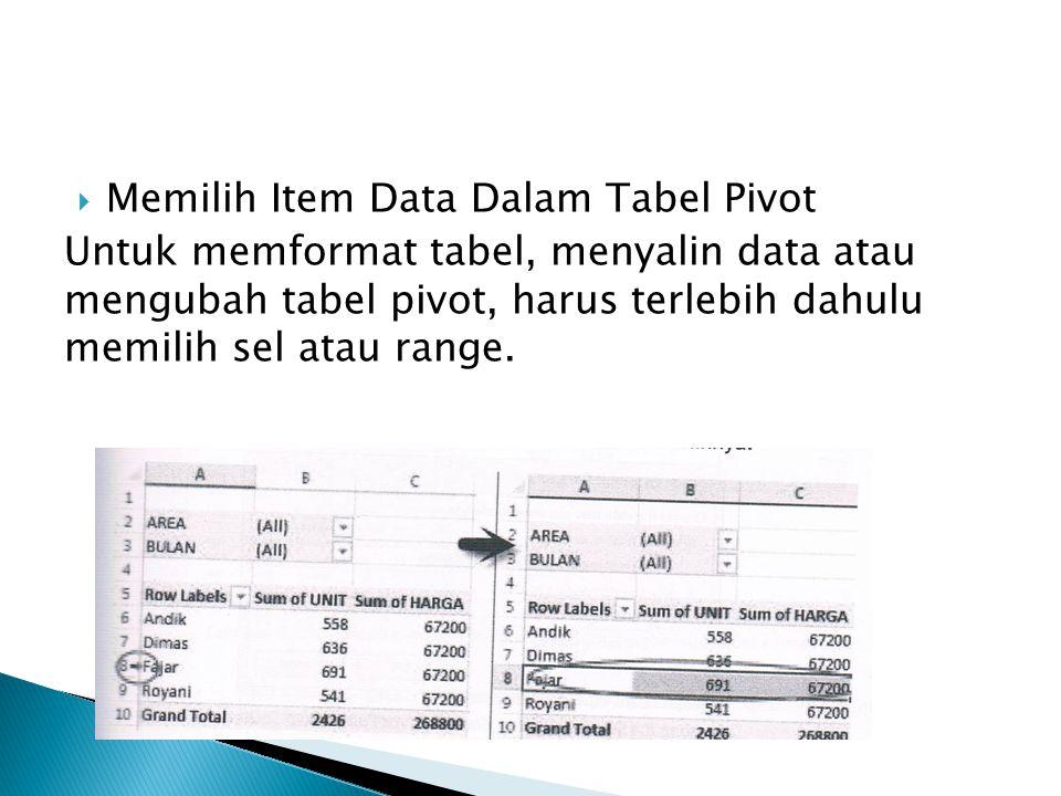  Memilih Item Data Dalam Tabel Pivot Untuk memformat tabel, menyalin data atau mengubah tabel pivot, harus terlebih dahulu memilih sel atau range.
