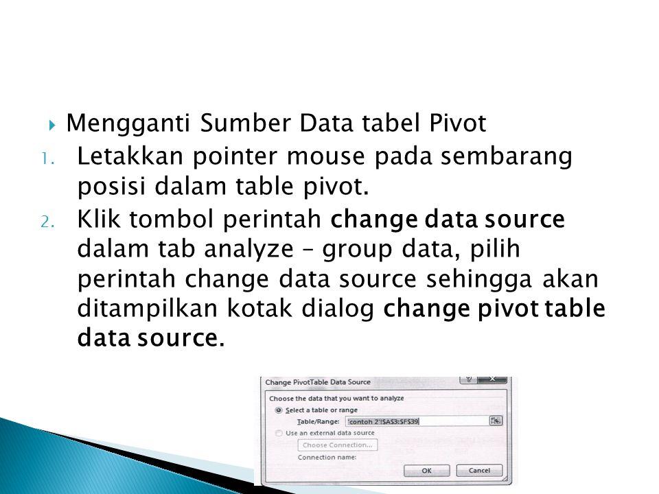  Mengganti Sumber Data tabel Pivot 1. Letakkan pointer mouse pada sembarang posisi dalam table pivot. 2. Klik tombol perintah change data source dala