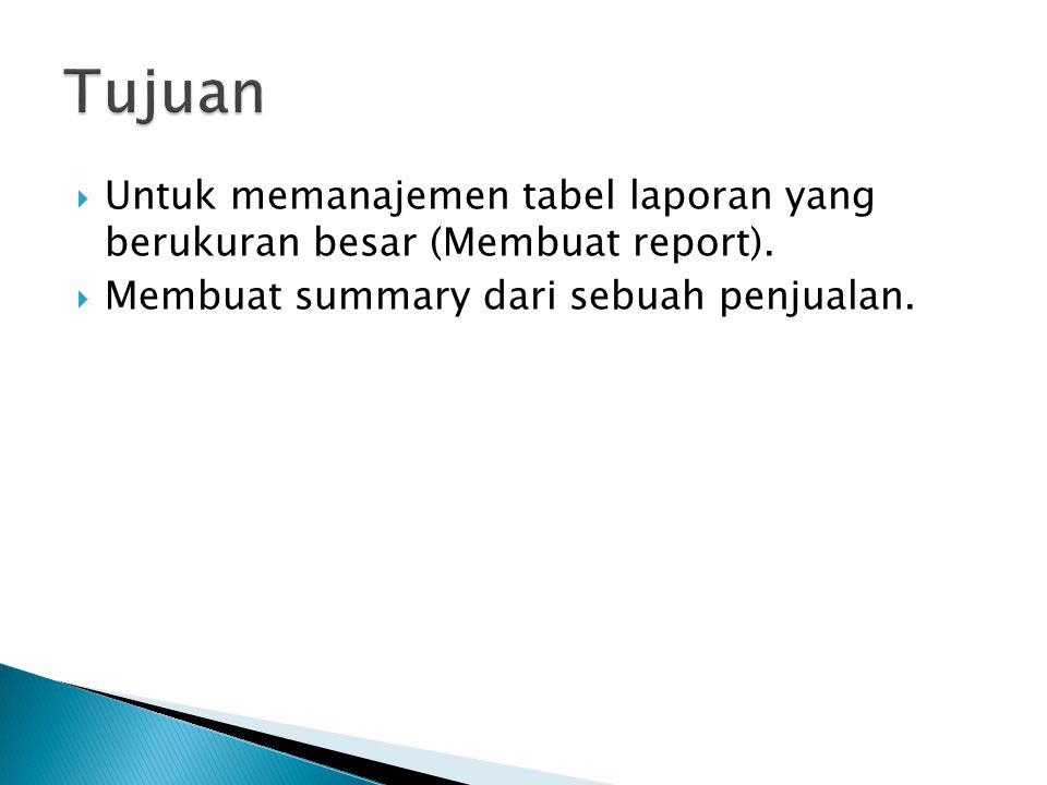  Untuk memanajemen tabel laporan yang berukuran besar (Membuat report).  Membuat summary dari sebuah penjualan.