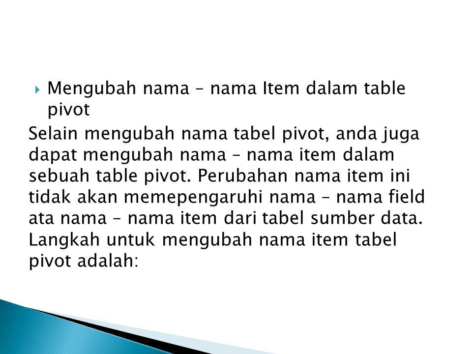  Mengubah nama – nama Item dalam table pivot Selain mengubah nama tabel pivot, anda juga dapat mengubah nama – nama item dalam sebuah table pivot. Pe