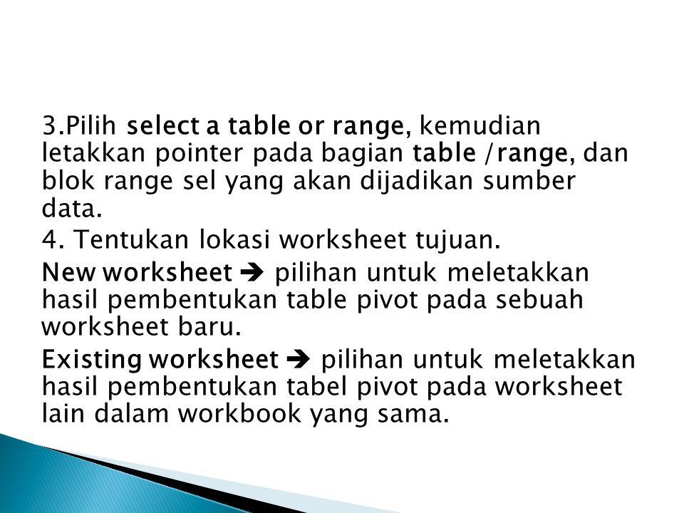 3.Pilih select a table or range, kemudian letakkan pointer pada bagian table /range, dan blok range sel yang akan dijadikan sumber data. 4. Tentukan l