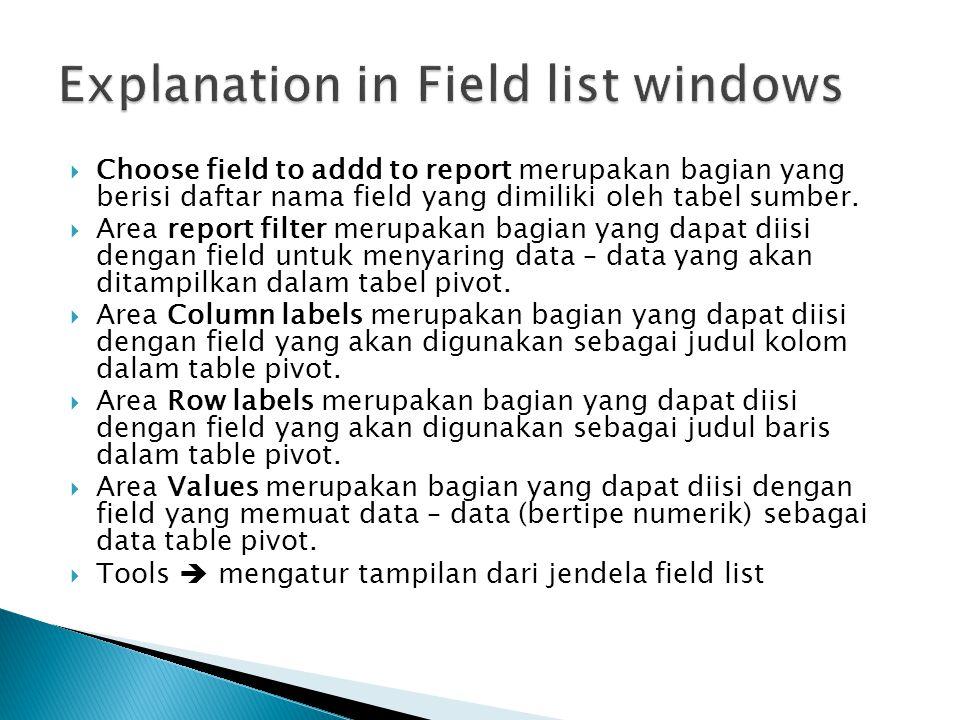  Choose field to addd to report merupakan bagian yang berisi daftar nama field yang dimiliki oleh tabel sumber.  Area report filter merupakan bagian