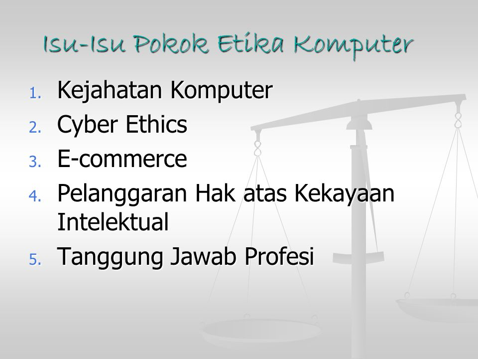 Isu-Isu Pokok Etika Komputer 1. Kejahatan Komputer 2. Cyber Ethics 3. E-commerce 4. Pelanggaran Hak atas Kekayaan Intelektual 5. Tanggung Jawab Profes