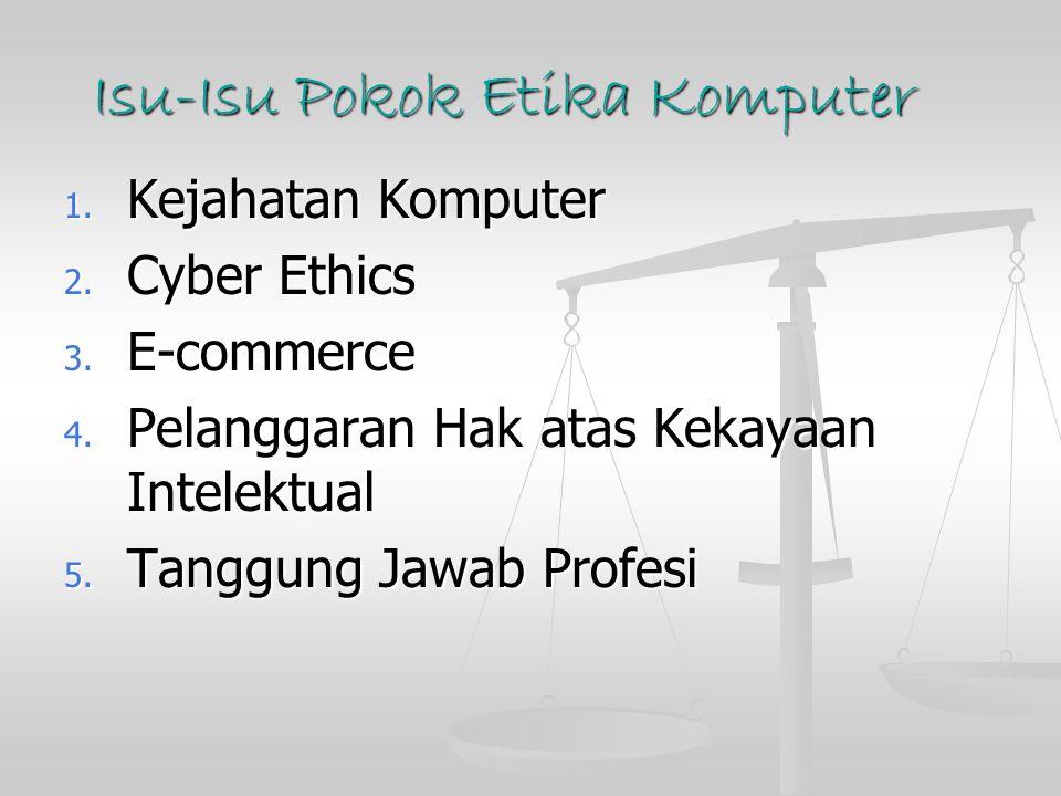 Isu-Isu Pokok Etika Komputer 1.Kejahatan Komputer 2.