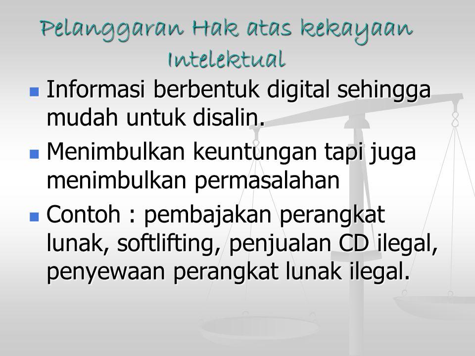 Pelanggaran Hak atas kekayaan Intelektual Informasi berbentuk digital sehingga mudah untuk disalin.