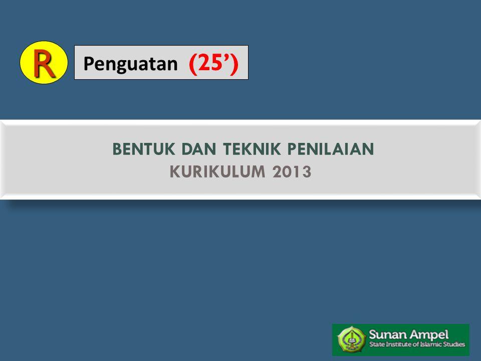 PENILAIAN KETERAMPILAN/ KINERJA PRAKTEKPORTOFOLIOPROJEK PENILAIAN SIKAP OBSERVASI PENILAIAN ANTAR TEMAN JURNAL PENILAIAN DIRI PENILAIAN PENGETAHUAN TES TULISPENUGASANTES LISAN BENTUK & TEKNIK PENILAIAN (Permendikbud Nomor 66 Tahun 2013)