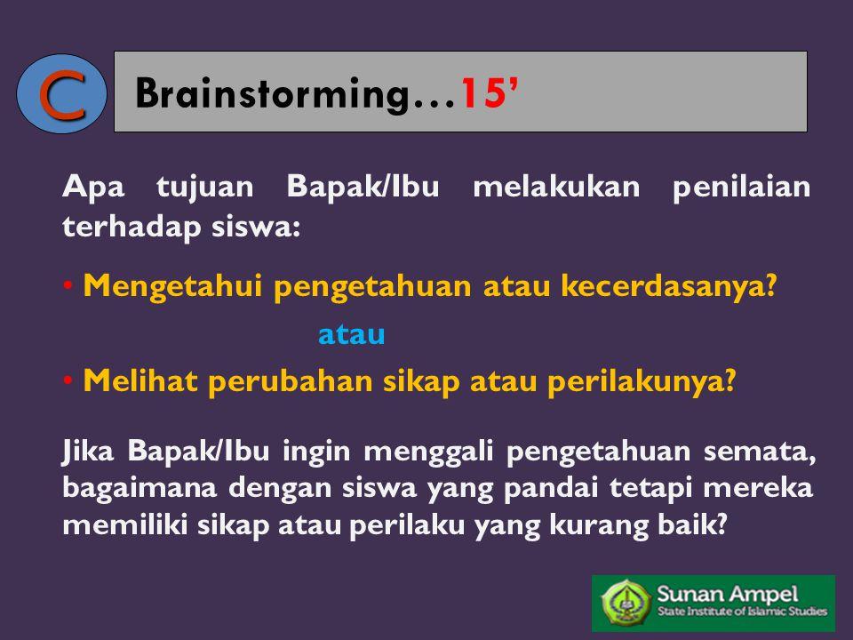Brainstorming…15' Apa tujuan Bapak/Ibu melakukan penilaian terhadap siswa: Mengetahui pengetahuan atau kecerdasanya? atau Melihat perubahan sikap atau
