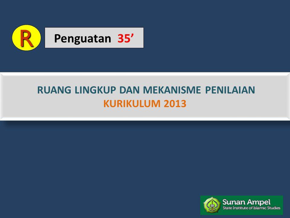 RUANG LINGKUP DAN MEKANISME PENILAIAN KURIKULUM 2013 RUANG LINGKUP DAN MEKANISME PENILAIAN KURIKULUM 2013 R Penguatan 35'