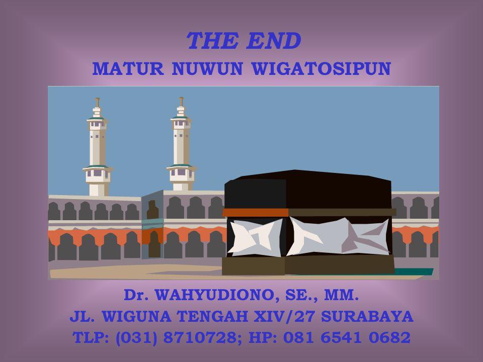 THE END MATUR NUWUN WIGATOSIPUN Dr. WAHYUDIONO, SE., MM. JL. WIGUNA TENGAH XIV/27 SURABAYA TLP: (031) 8710728; HP: 081 6541 0682