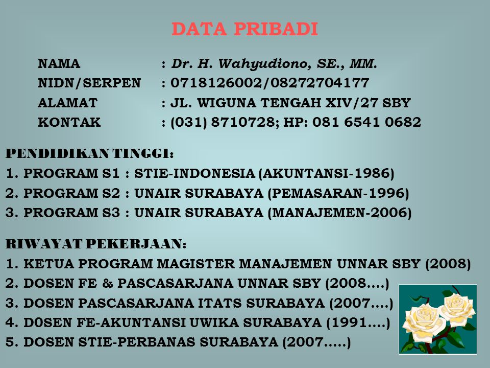 DATA PRIBADI NAMA : Dr. H. Wahyudiono, SE., MM. NIDN/SERPEN : 0718126002/08272704177 ALAMAT : JL. WIGUNA TENGAH XIV/27 SBY KONTAK : (031) 8710728; HP: