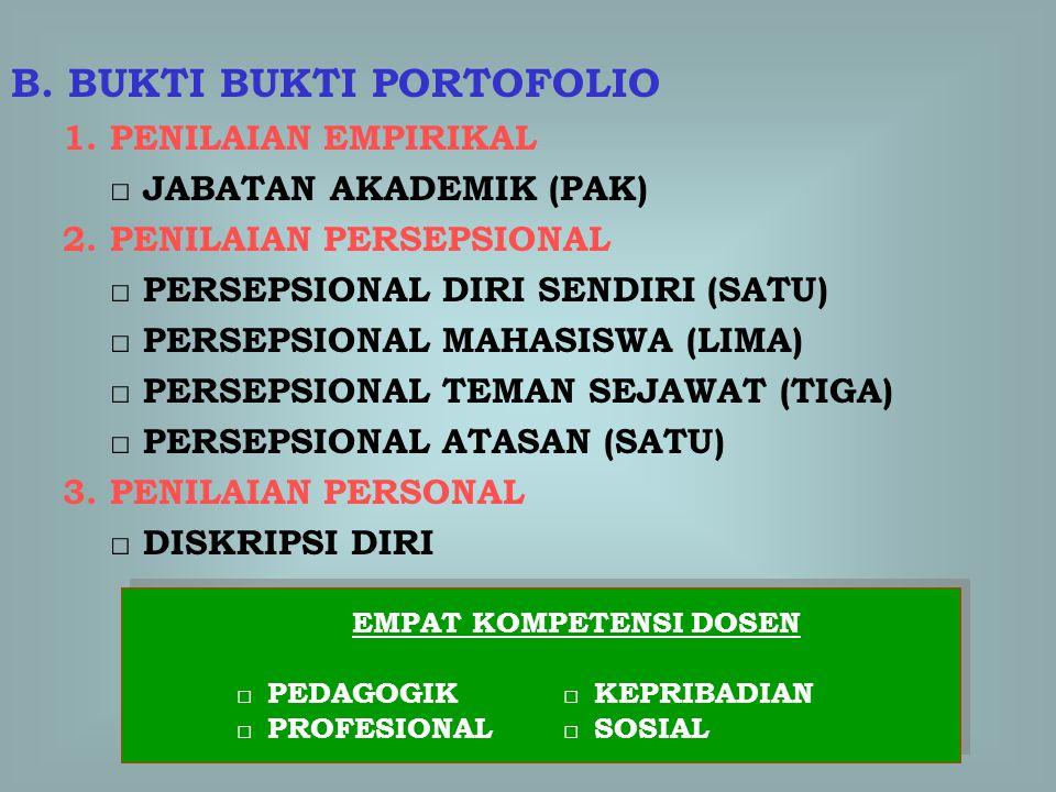 B.BUKTI BUKTI PORTOFOLIO 1. PENILAIAN EMPIRIKAL □ JABATAN AKADEMIK (PAK) 2.