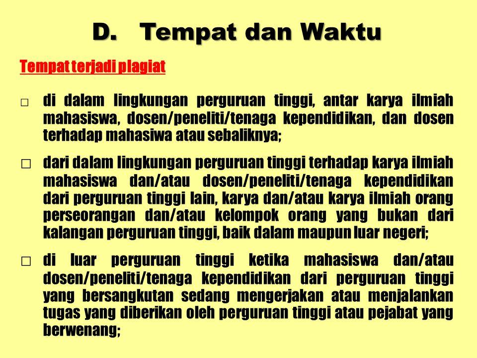 2 Dosen/ Peneliti /Tendik Pasal 11 ayat (6) 1.Teguran 2.Peringatan tertulis 3.Penundaan pemberian hak 4.Penurunan pangkat dan jabatan akademik/fungsio- nal 5.Pencabutan hak unt diusulkan sbg profesor/jenjang utama bagi yg memenuhi syarat 6.Pemberhentian dengan hormat dari status dosen/peneliti /tendik 7.Pemberhentian tdk dgn hormat dari status sebagai dosen/peneliti/ tendik 8.Pembatalan ijazah yg diperoleh dari PT ybs Apabila dosen/pe- neliti/tendik menyandang sebutam profesor/jenjang utama : Diberhentikan dari jabatan profesor/ jenjang utama UU Sisdiknas : Mempergunakan karya ilmiah jiplakan untuk memperoleh gelar akademik, profesi, vokasi dipidana penjara paling lama 2 tahun dan/atau denda paling banyak Rp 200 juta NoPelaku Ketentuan yg Dilanggar Urutan Sanksi Tambahan Sanksi Lain Menurut Peraturan Per-UU-an
