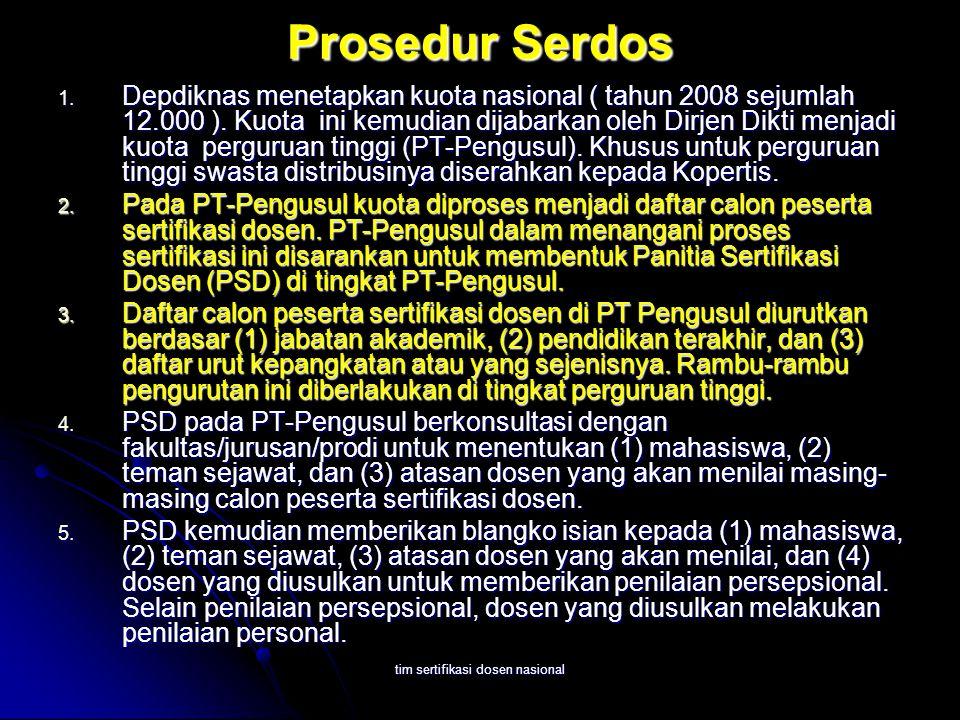 tim sertifikasi dosen nasional Prosedur Serdos 1. Depdiknas menetapkan kuota nasional ( tahun 2008 sejumlah 12.000 ). Kuota ini kemudian dijabarkan ol