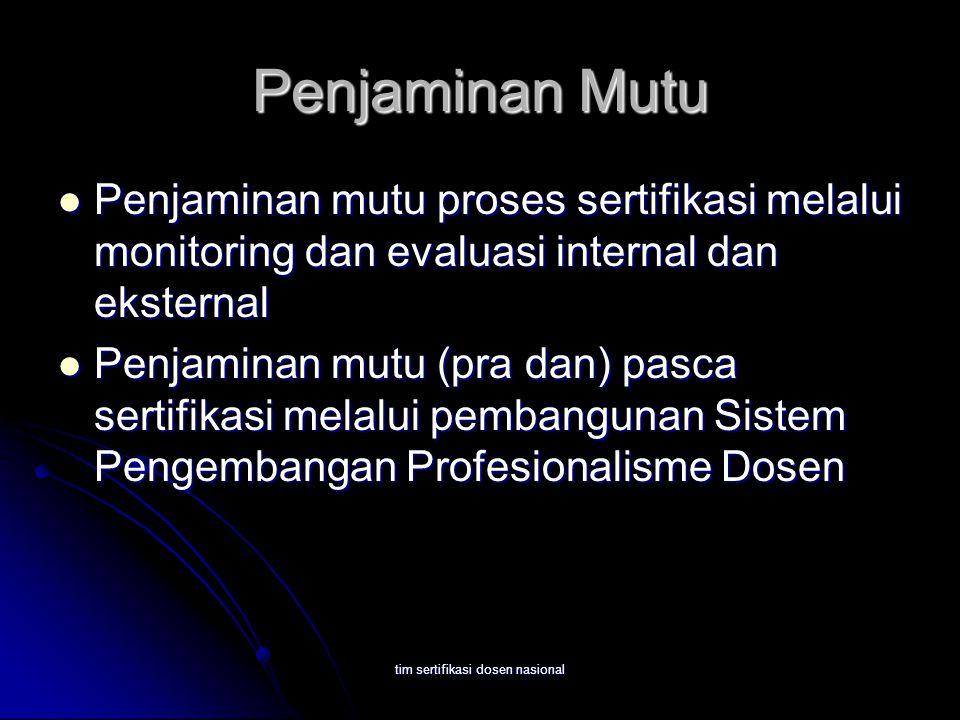 tim sertifikasi dosen nasional Penjaminan Mutu Penjaminan mutu proses sertifikasi melalui monitoring dan evaluasi internal dan eksternal Penjaminan mu