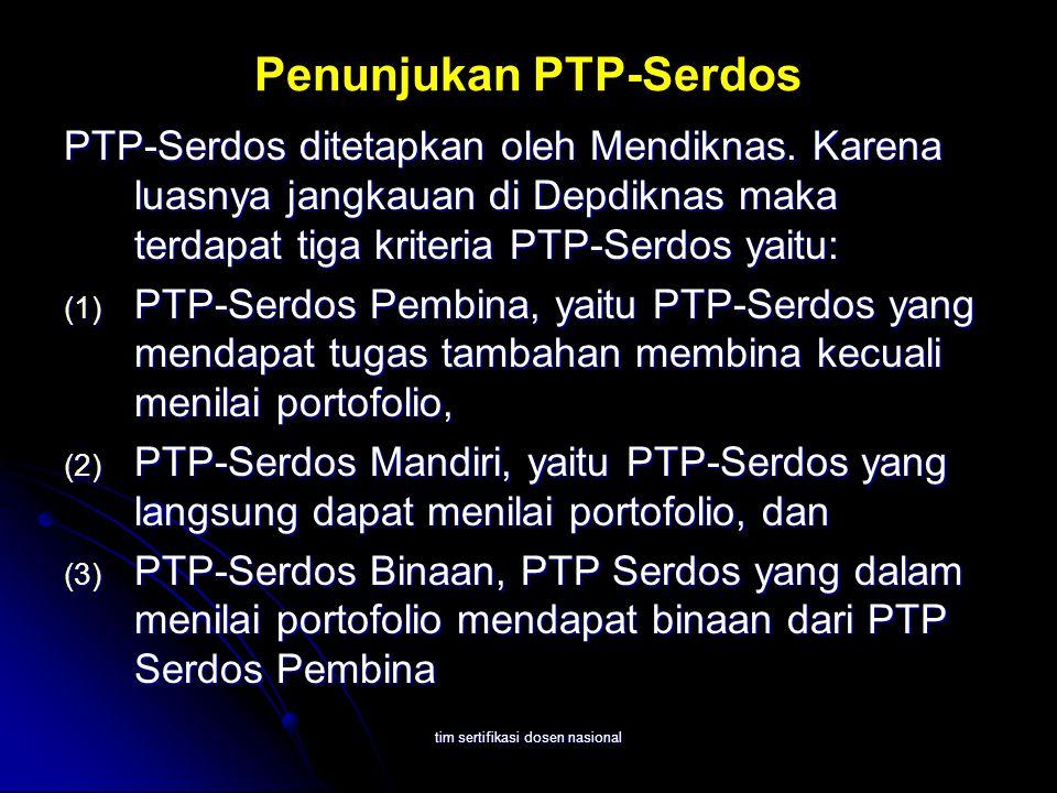tim sertifikasi dosen nasional Penunjukan PTP-Serdos PTP-Serdos ditetapkan oleh Mendiknas. Karena luasnya jangkauan di Depdiknas maka terdapat tiga kr