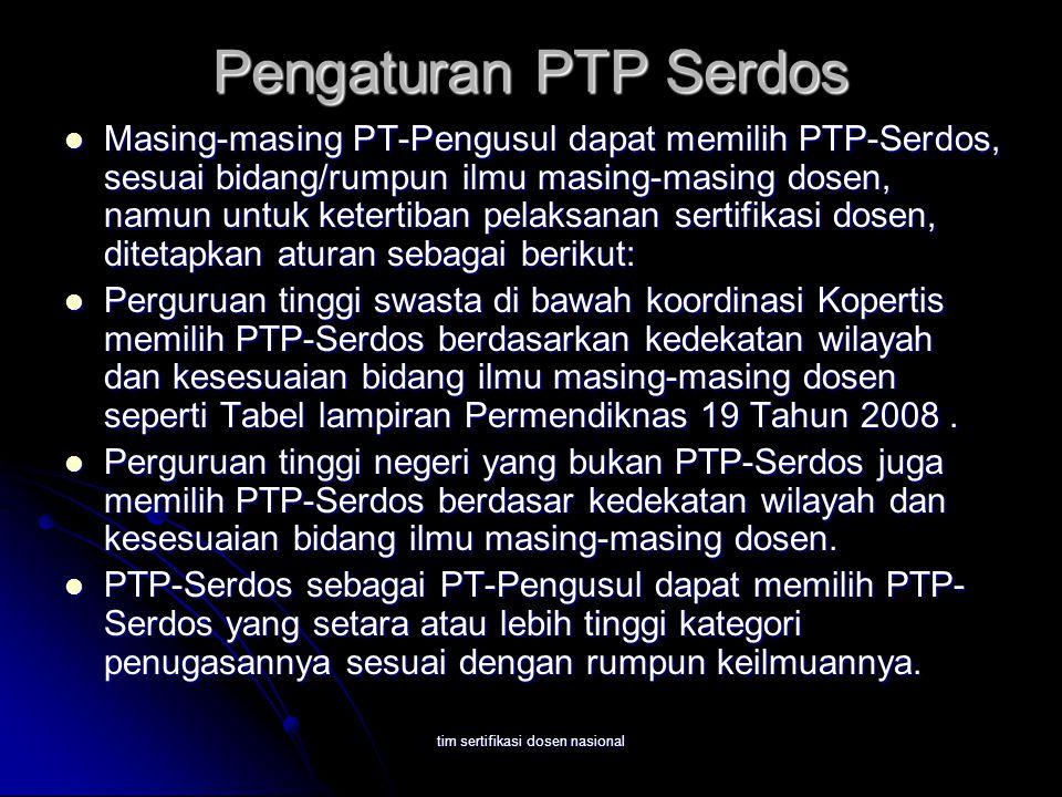 tim sertifikasi dosen nasional Pengaturan PTP Serdos Masing-masing PT-Pengusul dapat memilih PTP-Serdos, sesuai bidang/rumpun ilmu masing-masing dosen, namun untuk ketertiban pelaksanan sertifikasi dosen, ditetapkan aturan sebagai berikut: Masing-masing PT-Pengusul dapat memilih PTP-Serdos, sesuai bidang/rumpun ilmu masing-masing dosen, namun untuk ketertiban pelaksanan sertifikasi dosen, ditetapkan aturan sebagai berikut: Perguruan tinggi swasta di bawah koordinasi Kopertis memilih PTP-Serdos berdasarkan kedekatan wilayah dan kesesuaian bidang ilmu masing-masing dosen seperti Tabel lampiran Permendiknas 19 Tahun 2008.