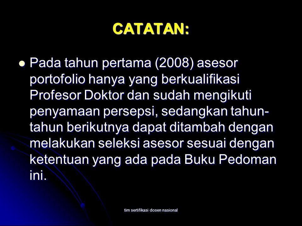 tim sertifikasi dosen nasional CATATAN: Pada tahun pertama (2008) asesor portofolio hanya yang berkualifikasi Profesor Doktor dan sudah mengikuti peny