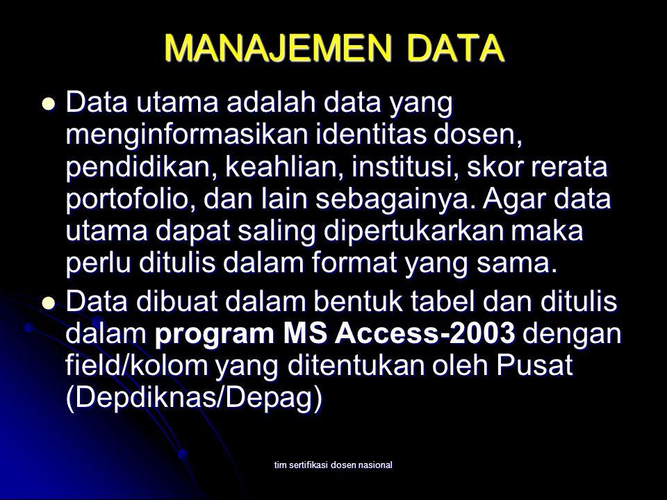 tim sertifikasi dosen nasional MANAJEMEN DATA Data utama adalah data yang menginformasikan identitas dosen, pendidikan, keahlian, institusi, skor rerata portofolio, dan lain sebagainya.