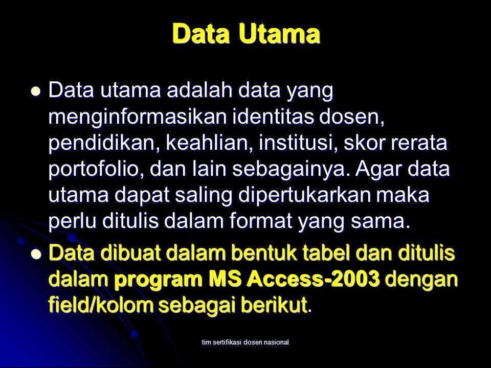 tim sertifikasi dosen nasional Data Utama Data utama adalah data yang menginformasikan identitas dosen, pendidikan, keahlian, institusi, skor rerata portofolio, dan lain sebagainya.