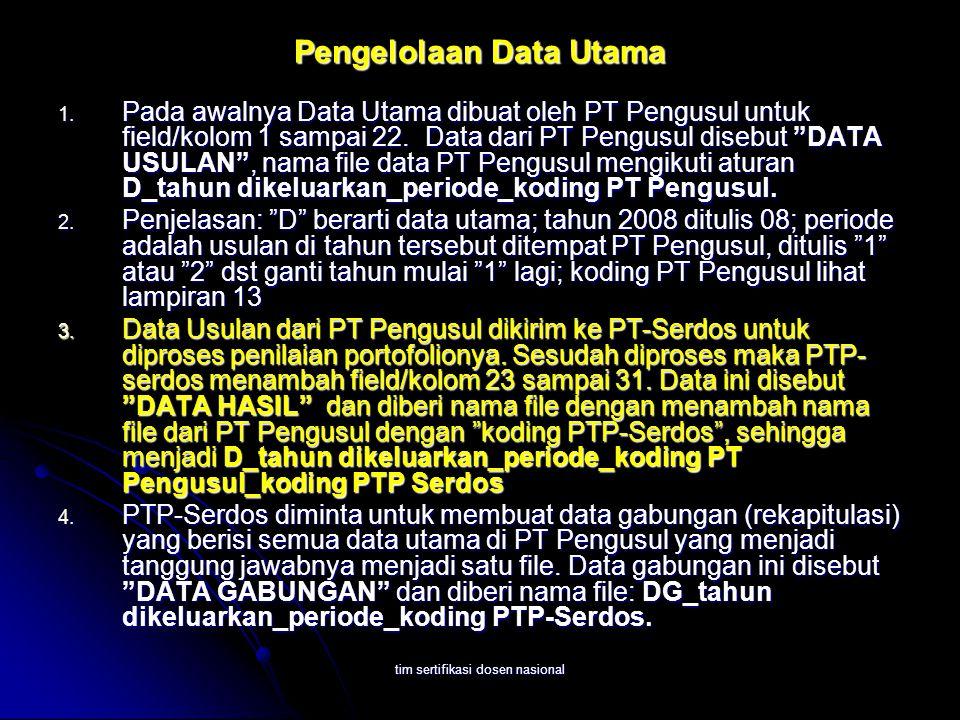 tim sertifikasi dosen nasional Pengelolaan Data Utama 1. Pada awalnya Data Utama dibuat oleh PT Pengusul untuk field/kolom 1 sampai 22. Data dari PT P