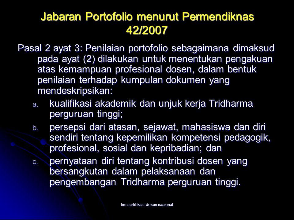 tim sertifikasi dosen nasional Jabaran Portofolio menurut Permendiknas 42/2007 Pasal 2 ayat 3: Penilaian portofolio sebagaimana dimaksud pada ayat (2) dilakukan untuk menentukan pengakuan atas kemampuan profesional dosen, dalam bentuk penilaian terhadap kumpulan dokumen yang mendeskripsikan: a.