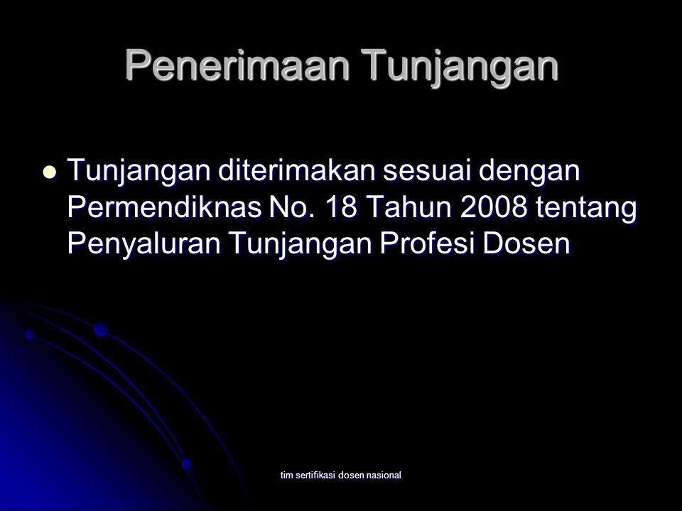 tim sertifikasi dosen nasional Penerimaan Tunjangan Tunjangan diterimakan sesuai dengan Permendiknas No. 18 Tahun 2008 tentang Penyaluran Tunjangan Pr