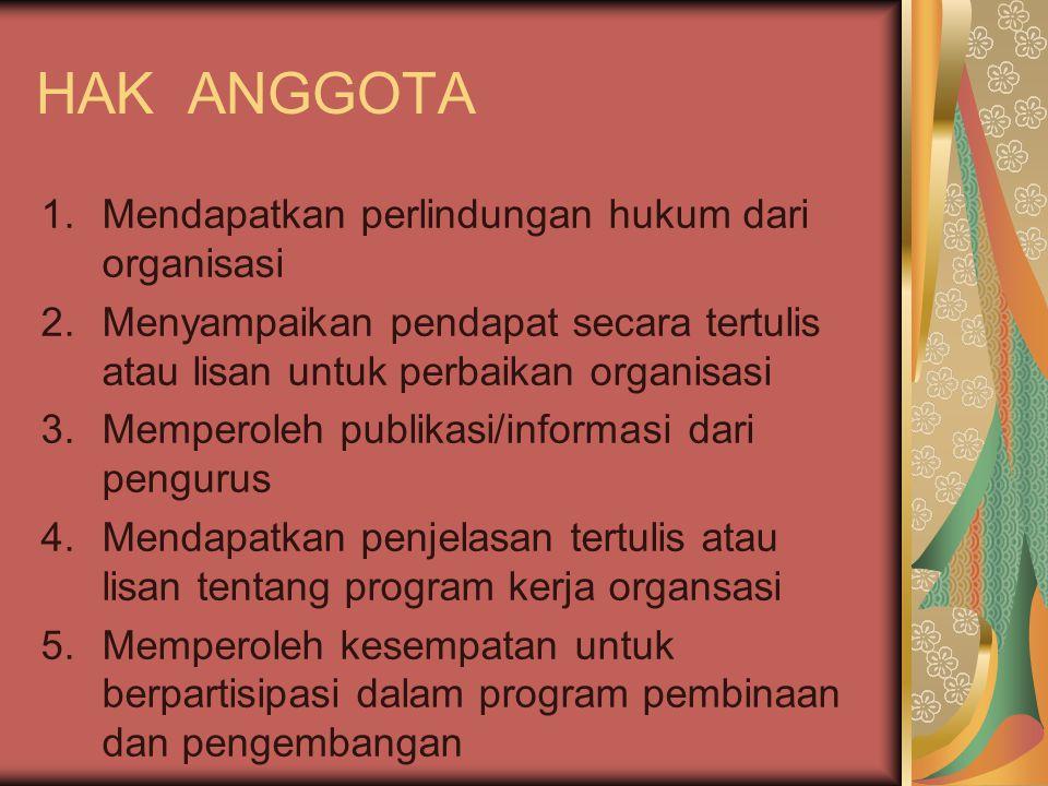 HAK ANGGOTA 1.Mendapatkan perlindungan hukum dari organisasi 2.Menyampaikan pendapat secara tertulis atau lisan untuk perbaikan organisasi 3.Memperole