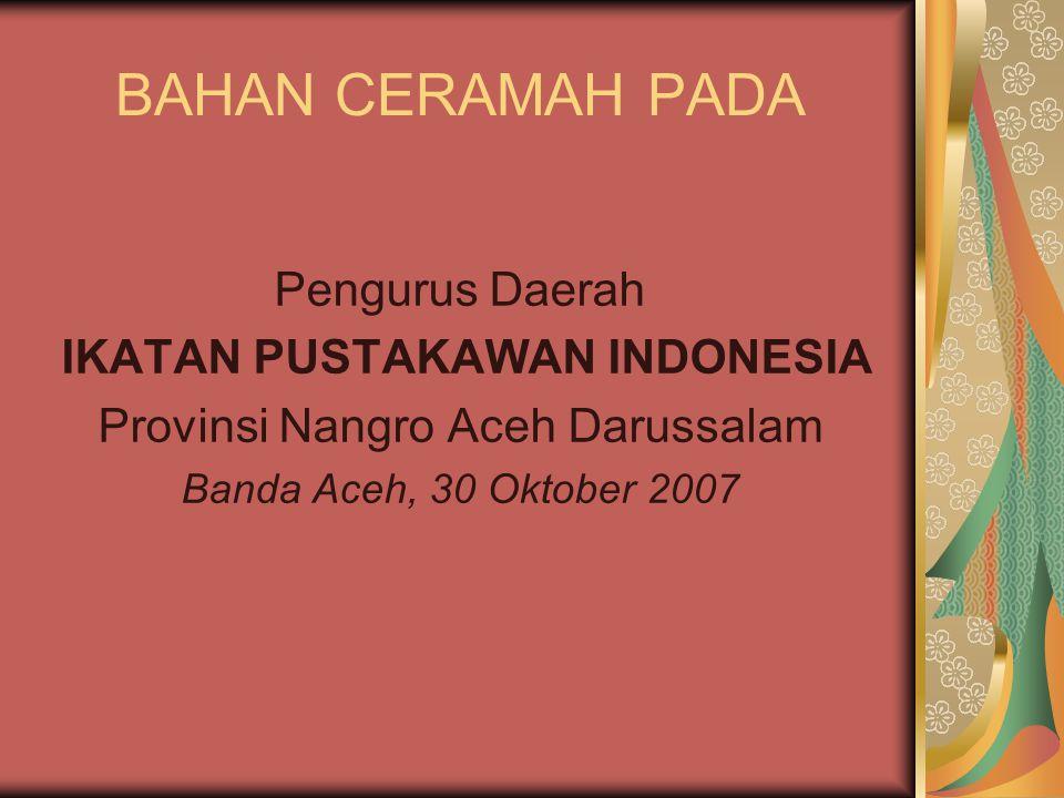 SEJARAH IPI Lahir 6 Juli 1973, di Ciawi Bogor Berazaskan Pancasila dan UUD 1945 Merupakan gabungan atau fusi dari berbagai organisasi pustakawan, antara lain APADI (Asosiasi Perpustakaan ARSIP dan Dokumentasi Indonesia dan HPCI (Himpunan Pustakawan Chusus Indonesia)