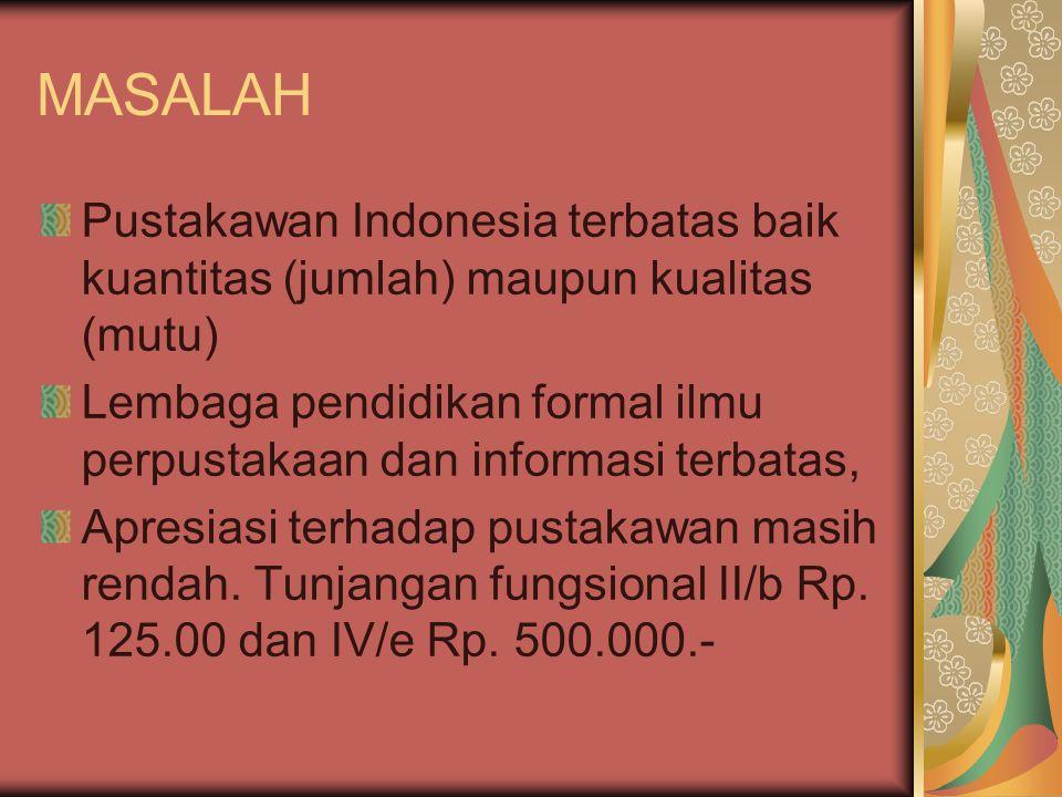 MASALAH Pustakawan Indonesia terbatas baik kuantitas (jumlah) maupun kualitas (mutu) Lembaga pendidikan formal ilmu perpustakaan dan informasi terbata