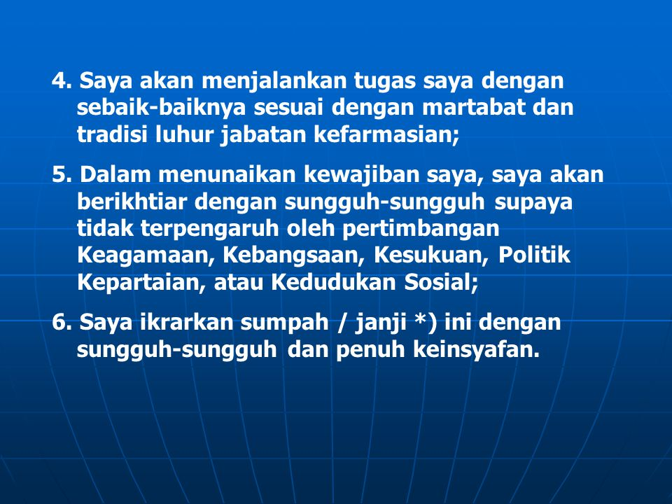 BAB V PENUTUP Pasal 15 Seorang Apoteker bersungguh-sungguh menghayati dan mengamalkan Kode Etik Apoteker Indonesia dalam menjalankan tugas kefarmasiannya sehari-hari.