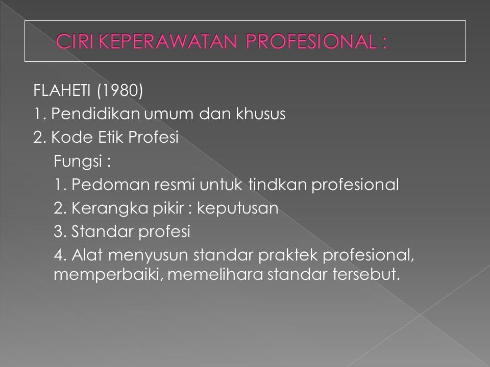 FLAHETI (1980) 1. Pendidikan umum dan khusus 2. Kode Etik Profesi Fungsi : 1. Pedoman resmi untuk tindkan profesional 2. Kerangka pikir : keputusan 3.