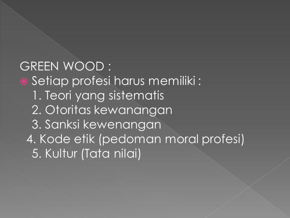 GREEN WOOD :  Setiap profesi harus memiliki : 1. Teori yang sistematis 2. Otoritas kewanangan 3. Sanksi kewenangan 4. Kode etik (pedoman moral profes