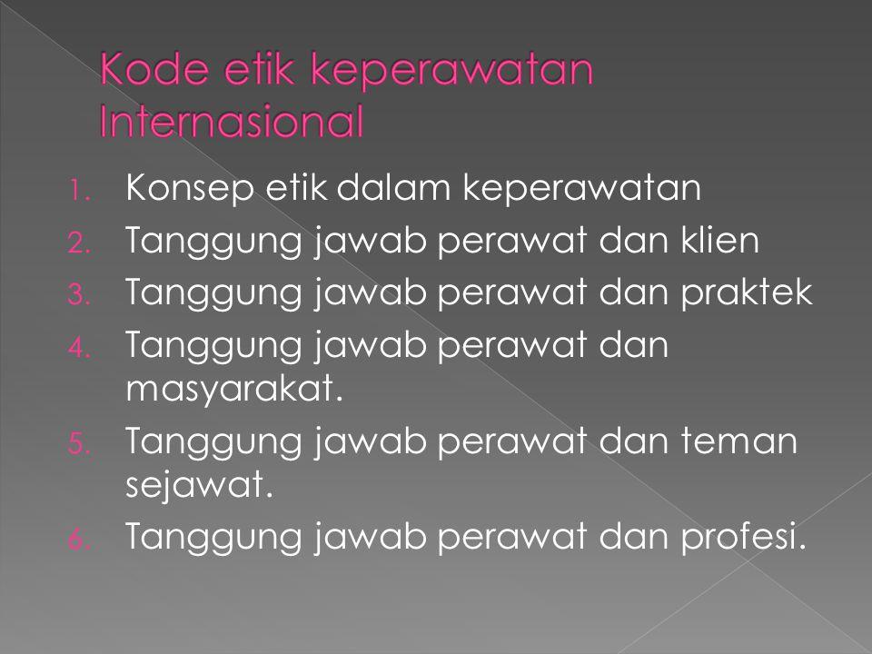 1. Konsep etik dalam keperawatan 2. Tanggung jawab perawat dan klien 3. Tanggung jawab perawat dan praktek 4. Tanggung jawab perawat dan masyarakat. 5