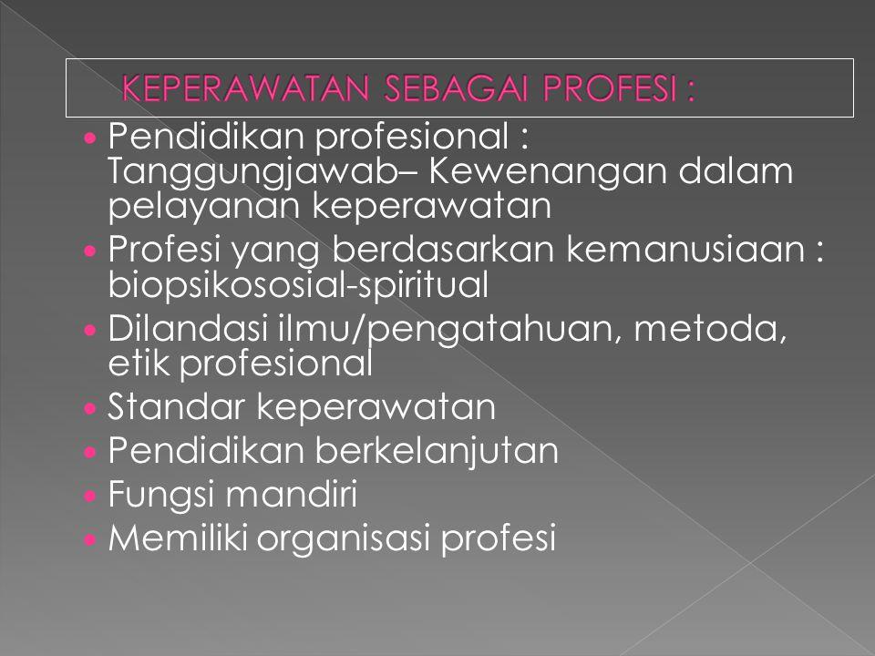 Pendidikan profesional : Tanggungjawab– Kewenangan dalam pelayanan keperawatan Profesi yang berdasarkan kemanusiaan : biopsikososial-spiritual Dilanda
