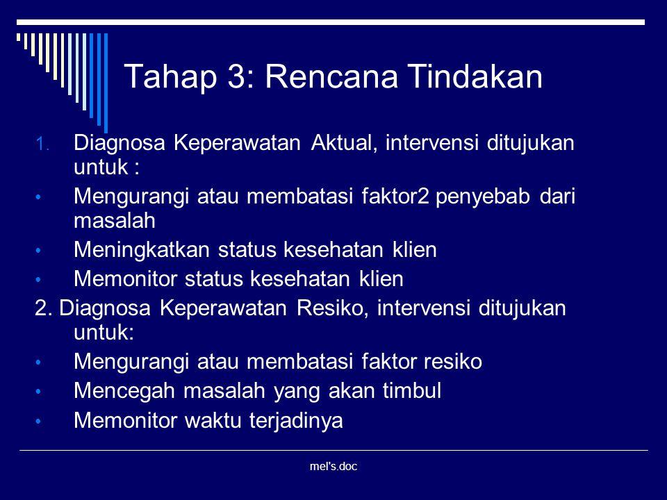 mel's.doc Tahap 3: Rencana Tindakan 1. Diagnosa Keperawatan Aktual, intervensi ditujukan untuk : Mengurangi atau membatasi faktor2 penyebab dari masal