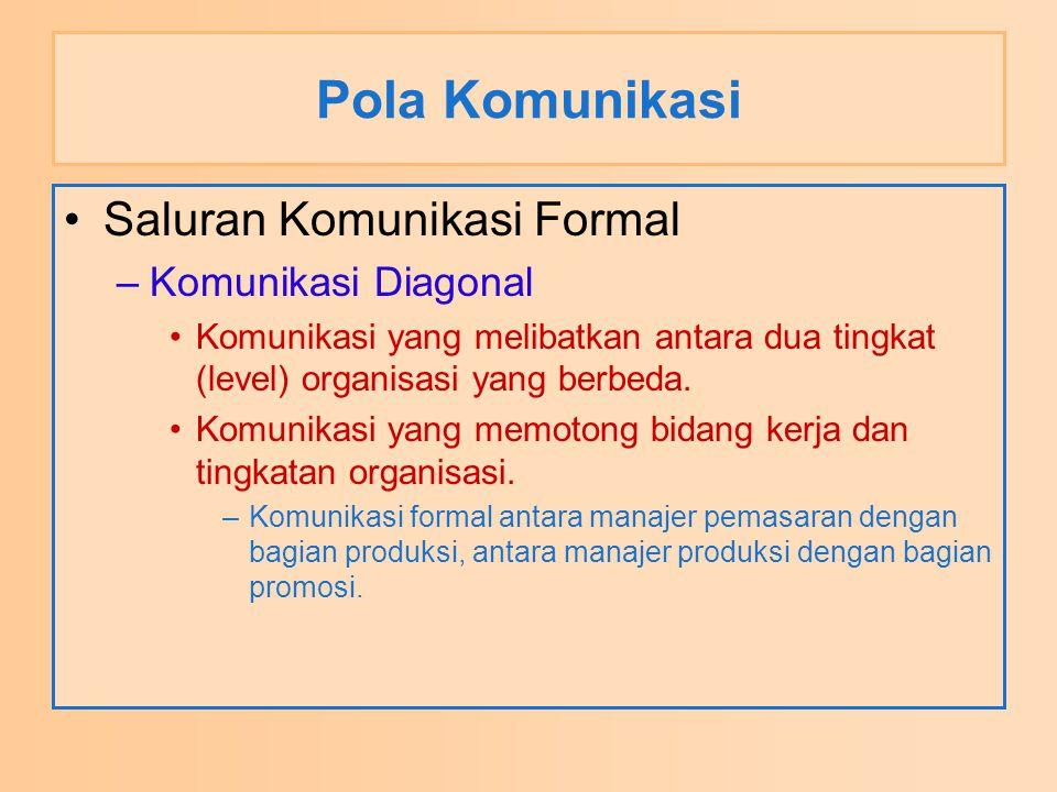 Pola Komunikasi Saluran Komunikasi Formal –Komunikasi Diagonal Komunikasi yang melibatkan antara dua tingkat (level) organisasi yang berbeda. Komunika