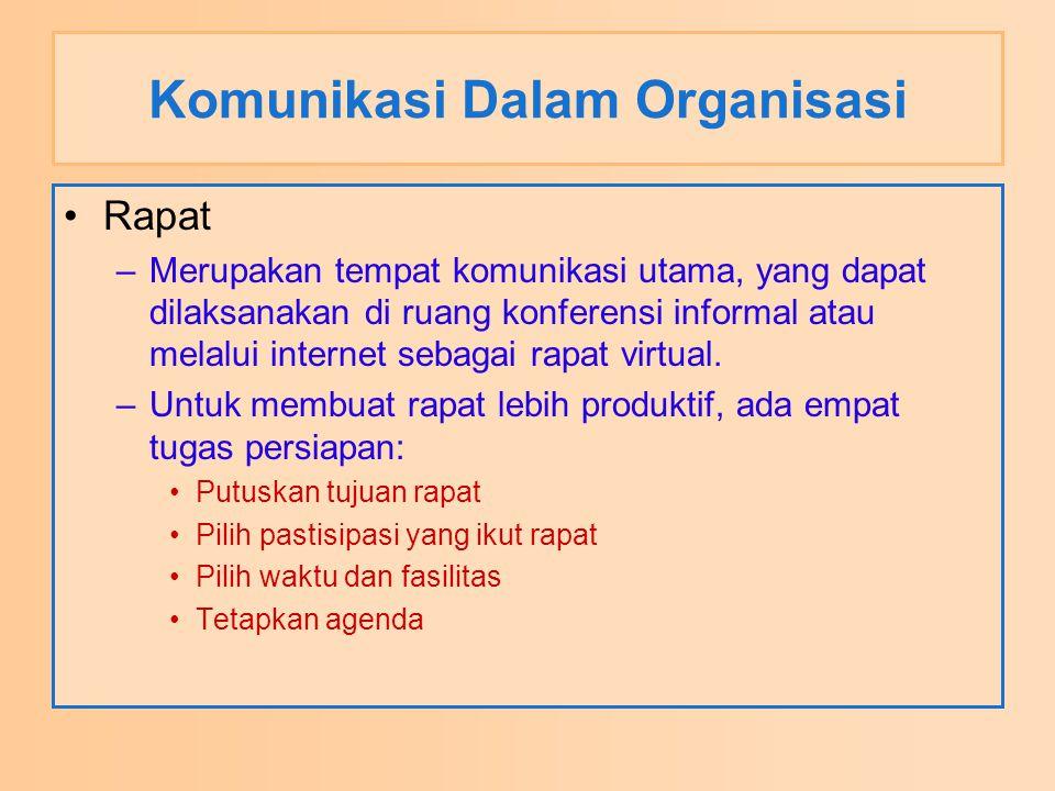 Komunikasi Dalam Organisasi Rapat –Merupakan tempat komunikasi utama, yang dapat dilaksanakan di ruang konferensi informal atau melalui internet sebag