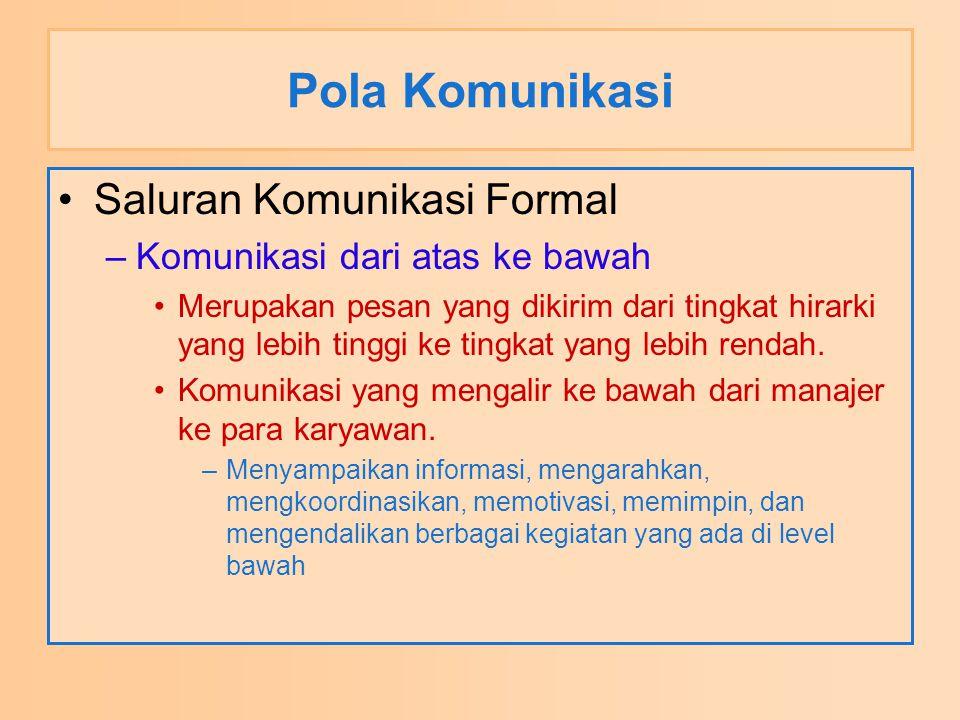 Pola Komunikasi Saluran Komunikasi Formal –Komunikasi dari atas ke bawah Merupakan pesan yang dikirim dari tingkat hirarki yang lebih tinggi ke tingka