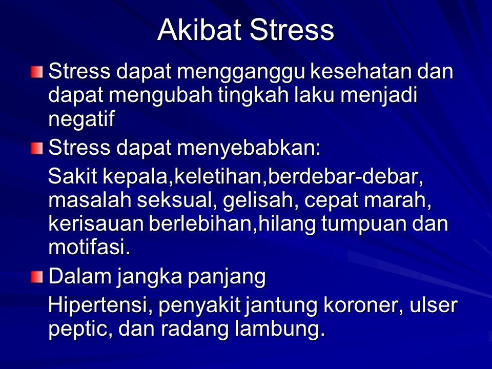 Akibat Stress Stress dapat mengganggu kesehatan dan dapat mengubah tingkah laku menjadi negatif Stress dapat menyebabkan: Sakit kepala,keletihan,berde