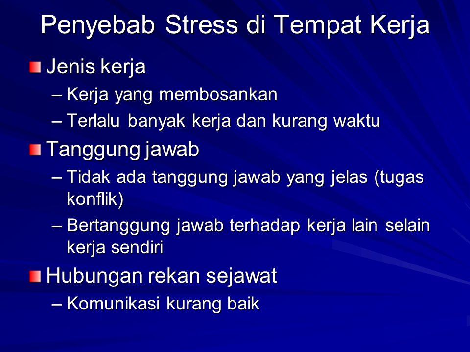 Penyebab Stress di Tempat Kerja Jenis kerja –Kerja yang membosankan –Terlalu banyak kerja dan kurang waktu Tanggung jawab –Tidak ada tanggung jawab ya