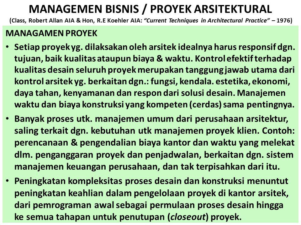 "MANAGEMEN BISNIS / PROYEK ARSITEKTURAL (Class, Robert Allan AIA & Hon, R.E Koehler AIA: ""Current Techniques in Architectural Practice"" – 1976) MANAGAM"