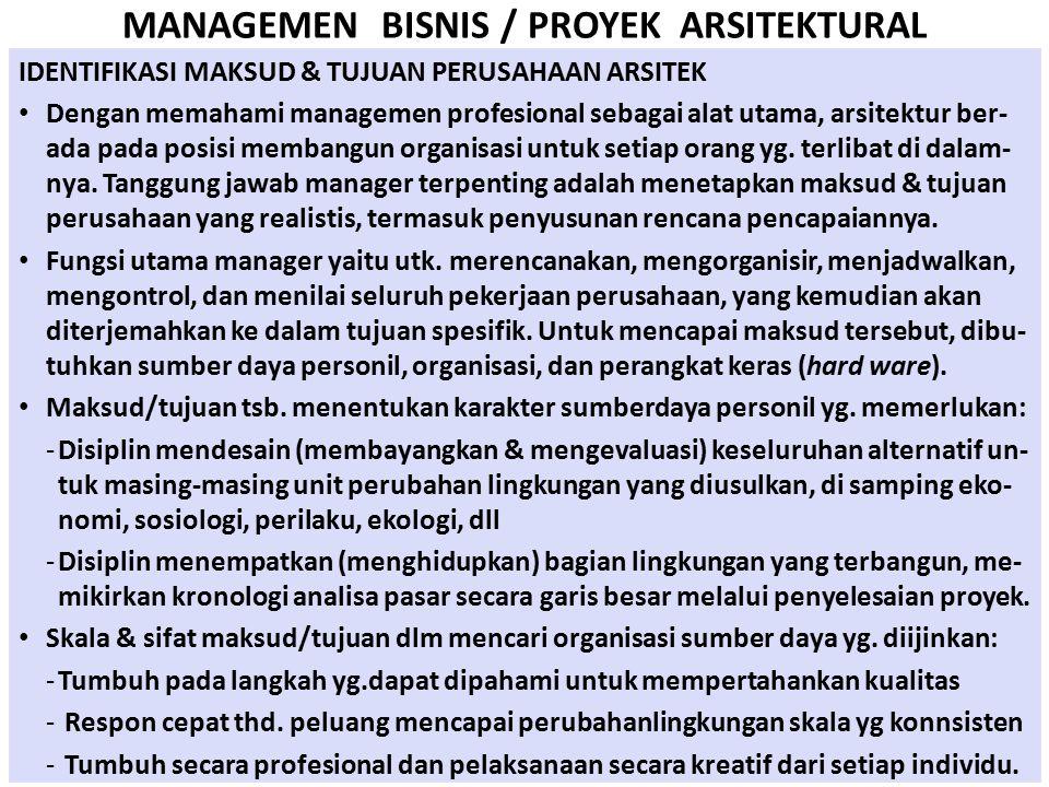 MANAGEMEN BISNIS / PROYEK ARSITEKTURAL IDENTIFIKASI MAKSUD & TUJUAN PERUSAHAAN ARSITEK Dengan memahami managemen profesional sebagai alat utama, arsit