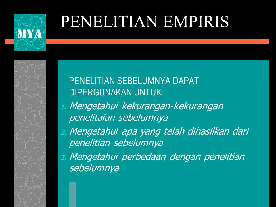 PENELITIAN EMPIRIS PENELITIAN SEBELUMNYA DAPAT DIPERGUNAKAN UNTUK: 1.