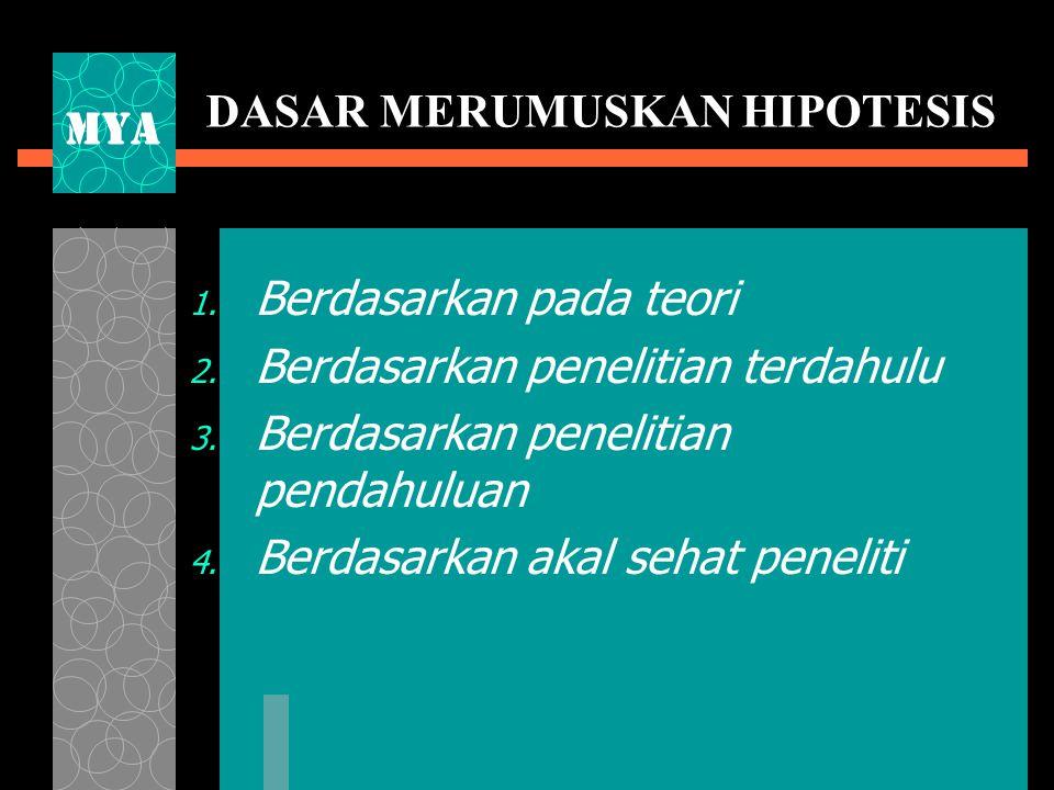 DASAR MERUMUSKAN HIPOTESIS 1.Berdasarkan pada teori 2.