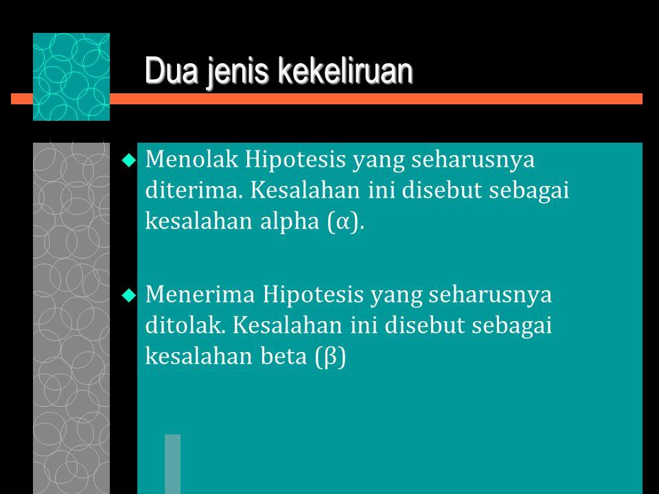 Dua jenis kekeliruan  Menolak Hipotesis yang seharusnya diterima.