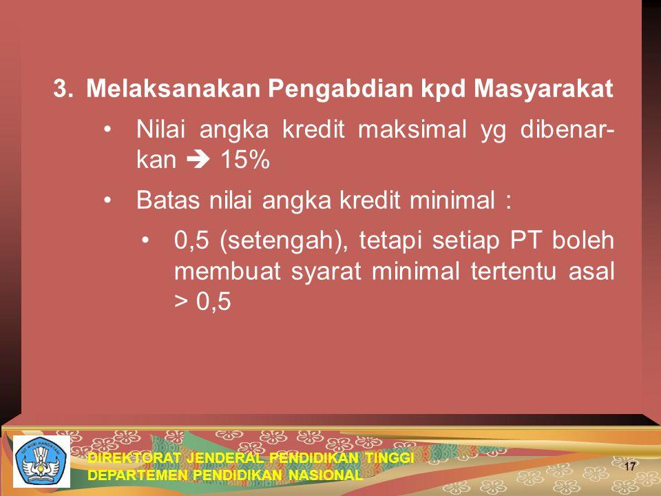 DIREKTORAT JENDERAL PENDIDIKAN TINGGI DEPARTEMEN PENDIDIKAN NASIONAL 17 3.Melaksanakan Pengabdian kpd Masyarakat Nilai angka kredit maksimal yg dibena